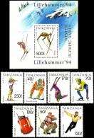 Olympic Games Tanzania 1994 #1705/11 + Bl 239  Lillehammer MNH ** - Winter 1994: Lillehammer