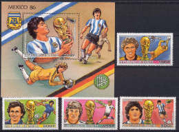 Guinea 1986 Football Soccer World Cup, Space Set Of 4 + S/s MNH - World Cup
