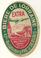 PUBLICITE ETIQUETTE BOISSON ALCOOL BIERE DE LORRAINE EXTRA  93 PRE ST GERVAIS BALZINGER - Beer