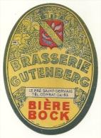 PUBLICITE ETIQUETTE BOISSON ALCOOL BIERE BOCK BRASSERIE GUTENBERG 93 LE PRE SAINT GERVAIS - Beer