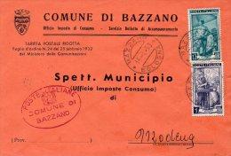 1953 STORIA POSTALE COMUNI ITALIA AL LAVORO BELLA BUSTA MULTIAFFRANCATA COMUNE DI BAZZANO(BOLOGNA)--R718 - 1946-.. République