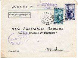 1952 STORIA POSTALE COMUNI ITALIA AL LAVORO BELLA BUSTA MULTIAFFRANCATA COMUNE DI SARONNO(VARESE)--R731 - 1946-60: Storia Postale