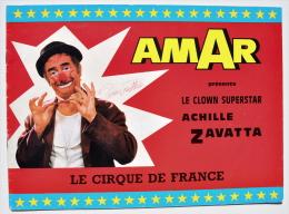 CIRQUE / Clown / Programme du Cirque AMAR d�dicac� par ACHILLE ZAVATTA, juillet 1976 � CUESMES (Mons, Belgique)