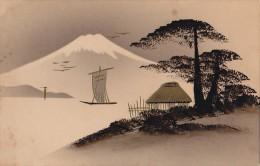 Matériaux Différents - Fantaisies - Carte Peinte - Japon - Peinture Or Et Encre - Fujiyama - Cartes Postales