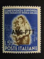 """ITALIA Trieste AMG-FTT 1950- """"Tabacco"""" £. 55 MH* (descrizione) - Ungebraucht"""