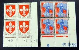 Freimarken Mi.Nr. 1274 + 1278, Je Postfr. Eckrand-4er-Block Unten Rechts Mit Druckdatum - 1960-1969