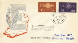 FDC Ierland - 1960 - Met Adres - Europa-CEPT