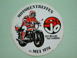 MOTORENTREFFEN 25 Mei 1974 ( 9 Cm. / Het Belang Van Limburg ) Zelfklever / Sticker ( Zie/voir Details Foto ) ! - Autres