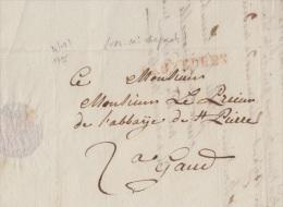 LETTRE DE BRUXELLES POUR GAND AVEC GRIFFE BRUXELLES SANS N° DE DEPART - 1795+ VERSO + SIGNATURE - Postmark Collection