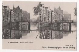 PAYS-BAS - AMSTERDAM - Grande Eglise Et Canal  - Vues Stéréoscopiques Julien Damoy - Stereoscope Cards
