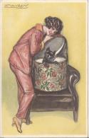 8288 - Femme Et Chien Sortant D'un Carton - Mauzan, L.A.
