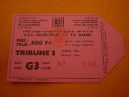 RSC Anderlecht-Malmo Football UEFA Champions League Match Ticket Billet 30/09/1987 - Tickets D'entrée