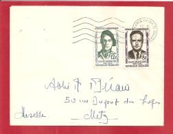N°Y&T 1157+1158  PARIS     Vers  METZ  Le   20  MAI1958 - Covers & Documents