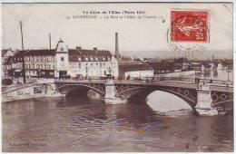 60. LA CRUE DE L'OISE MARS 1910. COMPIEGNE . LE PONT ET L'HOTEL DE FLANDRE - Compiegne