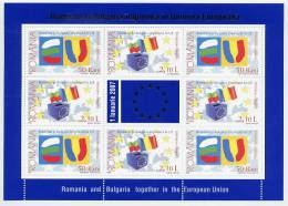 ROMANIA 2006 European Union Entry Sheetlet MNH / **.   Michel 6149-50 Kb - Blocks & Sheetlets
