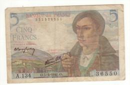 Billet De 5 Francs Berger Du 5. 4. 1945 - 1871-1952 Anciens Francs Circulés Au XXème