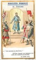 Chromos Réf. D396. Biscuits Pernot - Philippe Auguste, Bataille De SBouvines, Seigneurs, Couronne - Pernot