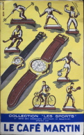"""-BUVARD ANCIEN - LE CAFE MARTIN -  """" Collection Les Sports """" -  Trés Bon état - - Coffee & Tea"""