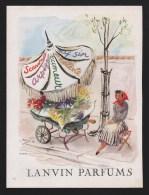 Pub Papier 1948 Parfum  LANVIN Parfums Petit Metier Marchande De Fleurs Fleuriste Dos Caron Pour Un Homme - Advertising