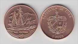 MD2336 CUBA UNC 1994 1$ COPPER SHIP NAO VICTORIA KUBA - Cuba