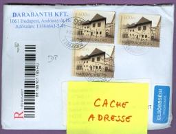Enveloppe Recommandée HONGRIE - 3 Tp: Kosice (Kassa) Capitale Européenne De La Culture 2013 / Musée Maisons - Hongrie