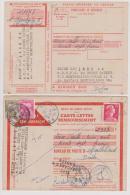 Carte-Lettre Remboursement Avec Cachet Du 29/11/56 De Sochaux Et Taxée Pour Retour à L´envoyeur  12/12/56 à Montbéliard - Marcofilie (Brieven)