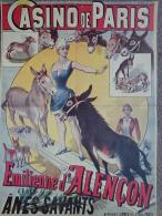 75- PARIS - AFFICHE CASINO DE PARIS CIRQUE - EMILIENNE D' ALENCON ET SES ANES SAVANTS- ANE - Affiches