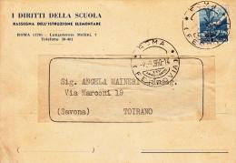 STORIA POSTALE CARTOLINA POSTALE   TOIRANO I DIRITTI DELLA SCUOLA ROMA 1950 - Posta