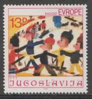"Jugoslavija Yugoslavia 1981 Mi 1902 YT 1788 ** Skiers / Skischule By Aino Jokinen - Children´s Drawing - ""Joy Of Europe"" - Skisport"