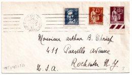 France Belle Lettre De Paris Pour Rochester USA Mars 1934 Avec Timbres N° Yvert 282+284+295 + Vignette Rue Saint Honoré - France
