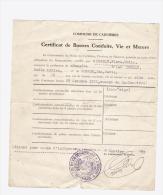 Papier De Bonne Vie Et Moeurs En 1941 Carnières - Vieux Papiers