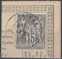 FRANCE - 15 C. Sage Type I Oblitéré Sur Fragment De Carte Postale TTB - 1876-1878 Sage (Type I)