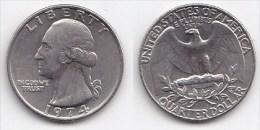 ETATS UNIS * QUATER DOLLAR *WASHINGTON*ANNEE 1974 - Émissions Fédérales