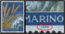 "San Marino (Wheat) 1l. (Sc # 416) Plate Error: Wrong Year ""1938"" Instead Of ""1958"" (Mint) - Abarten Und Kuriositäten"