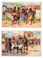 2 Chromos D´Allemagne Pour Kavalier, Schuhputzmittel, Augsburg, Thèmes: Musique, Inde, Noir, Afrique, Serpent - Cromos