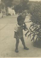 Little Boy Smells Flower, Petit Garçon Sent Fleur, Vintage Old Postcard - Children