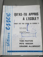 Partition  Qu'as Tu Appris A L'ecole ? What Did You Learn In School ? Vo TOM PAXTON / VF GRAEME ALLWRIGHT EDIT ESSEX - Non Classés