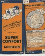 CARTE-ROUTIERE-MICHELIN-N °77-1931-N° 3129-710-VALENCE-GRENOBLE- PAS DECHIREE-TB E - Cartes Routières