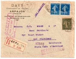 France Lettre De Arpajon à San Francisco (USA) En Recommandé De 1917 Avec N°Yvert 130 Et 140x2 - France