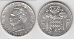 MONACO **** 5 FRANCS 1960 RAINIER III - ARGENT **** EN ACHAT IMMEDIAT !!! - Monaco