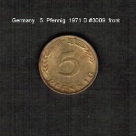 GERMANY    5  PFENNIG  1971 D  (KM # 107) - 5 Pfennig