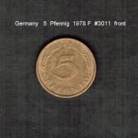 GERMANY    5  PFENNIG  1978 F  (KM # 107) - 5 Pfennig