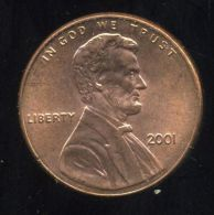 UNITED STATES - USA - ONE CENT 2001  - LINCOLN - Émissions Fédérales