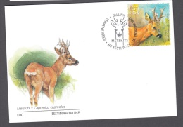4.- 002 ESTONIA 2012 FDC ROE DEER - Animalez De Caza