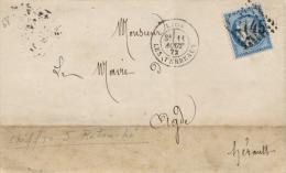 Lettre Cérès N°60 Lyon Les Terreaux Gros Chiffres 2145 Variété Chiffre 5 Retouché 11/8/1872 - Marcophilie (Lettres)
