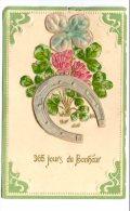 Cp , 365 JOURS DE BONHEUR , Fer à Cheval Trefle à 4 Feuilles , Fleurs , Gauffrée , Vierge , Union Postale Universelle - Anno Nuovo