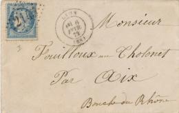 Lettre Cérès N°60 Lyon Rhône 6/2/1872 Pour Aix Le Tholonet Bouches-du-Rhône Gros Chiffres 2145 - 1849-1876: Période Classique