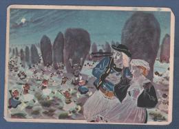 CP EN PARCOURANT LA BRETAGNE - LEGENDE LA RONDE DES KORRIGANS - AQUARELLE DE CHARLES HOMUALK - GABY N° 35 - Fairy Tales, Popular Stories & Legends