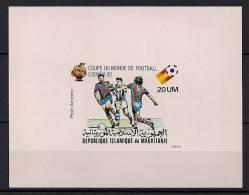 MAURITANIA, AÑO 1980, YVERT 198** HOJA BLOQUE SIN DENTAR, FÚTBOL, CAMPEONATOS MUNDIALES ESPAÑA 82 - World Cup