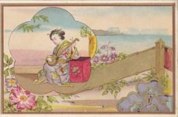 ANCIENNE IMAGE CHROMO OR DORURE JAPON JAPAN ?? JAPONNISANT BEAU VISUEL FEMME MANDOLINE ? ART NOUVEAU ? - Non Classés